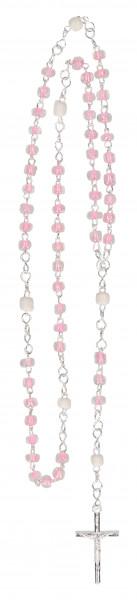Rosenkranz gekettelt - mit rosa u. weiße Glasperlen