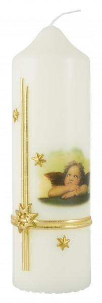 Weihnachtskerze Kerze Raffaelengel, Sterne gold