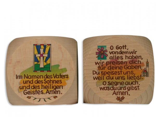 Gebetswürfel Holz bunt bedruckt, Tischgebete