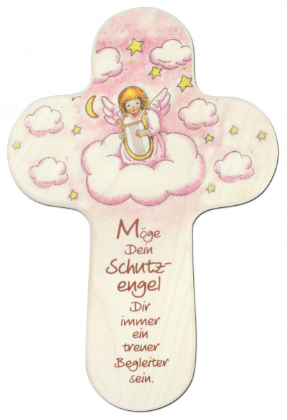 Kinderkreuz Holz abgerundet Wolke Engel mit Harfe, rosa