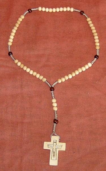Rosenkranz geknüpft, mit Holzperlen hell, Devotionalien
