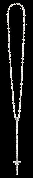 Rosenkranz lang - Wachsperle weiß - gekettelt