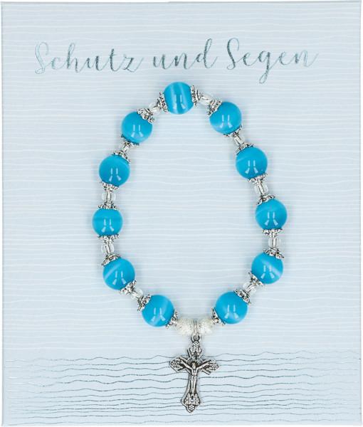Stretch-Armband blaue Perlen - Schutz und Segen
