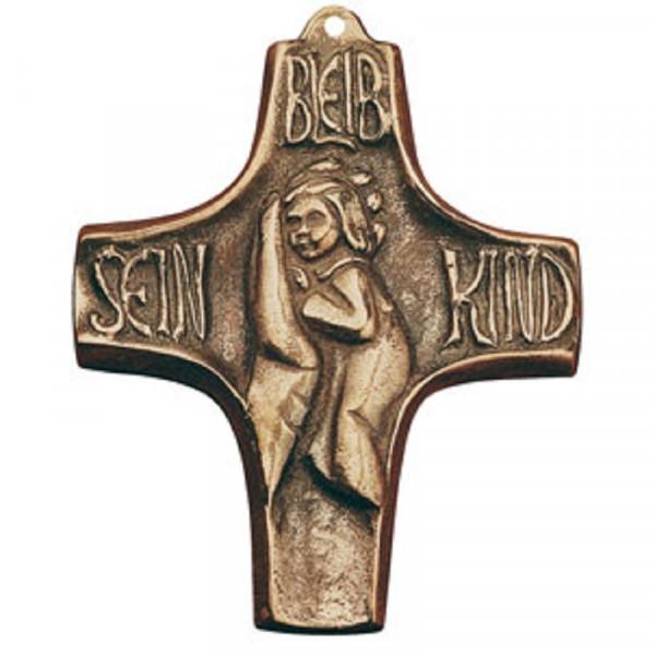 Kommunionkreuz Bronze - bleib sein Kind