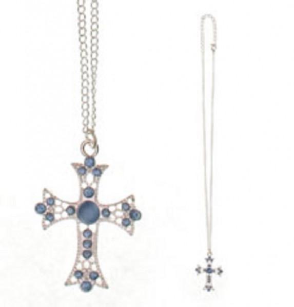 Kreuzanhänger mit blauen Glassteinen-Metallkette