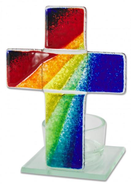 Glas-Teelicht Kreuz, Stehkreuz Regenbogen-blau