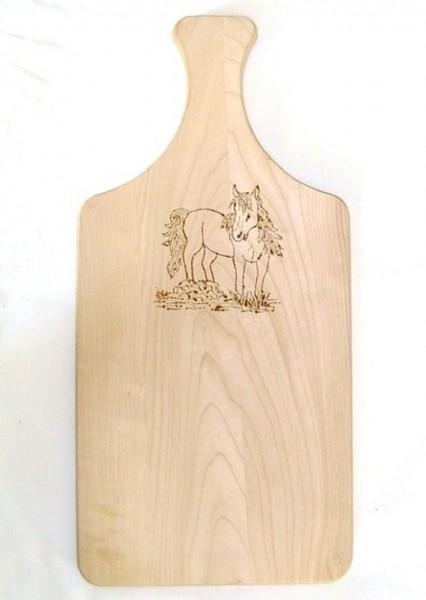 Brotzeitbrett Holz mit Griff 16x34cm, Brandmalerei Motiv Pferd