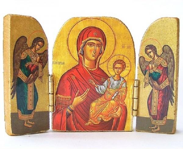 Taschenikone, Triptychon, Madonna, Engel, Christliches Geschenk