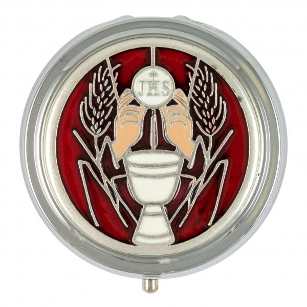 Metalletui für Rosenkranz, Motiv Kelch rund 4,5 cm Silberfaden-rot