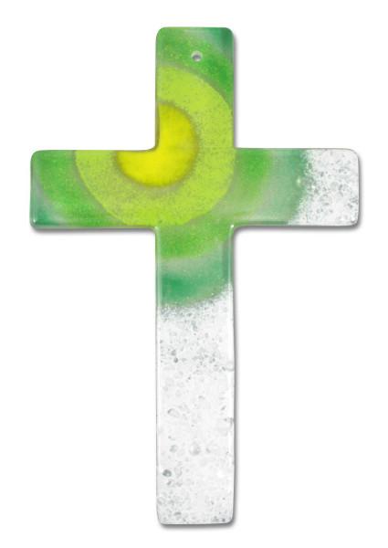 Glaskreuz handg. grün/weiß Sonne gelb 20x13cm