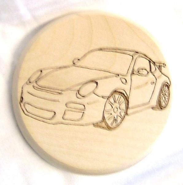 Bierdeckel Holz mit Brandmalerei Brandmotiv Porsche