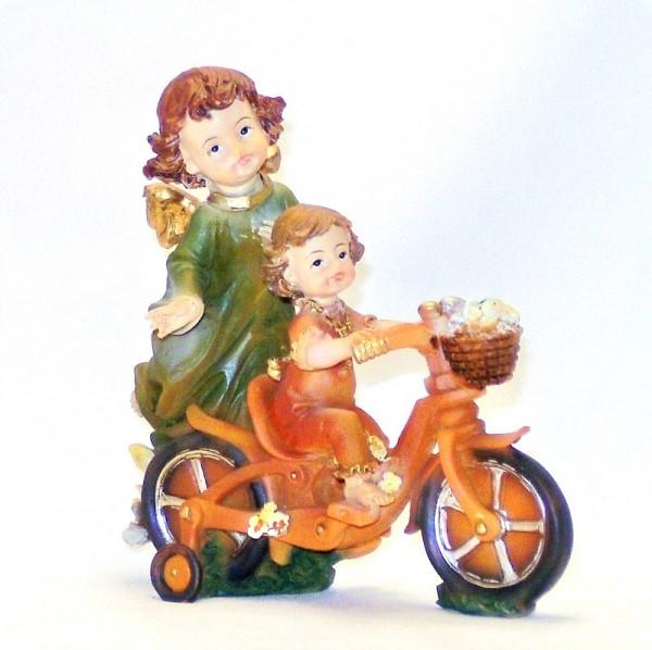 Schutzengel für Mädchen auf Fahrrad Polyresan Dekofigur Engel