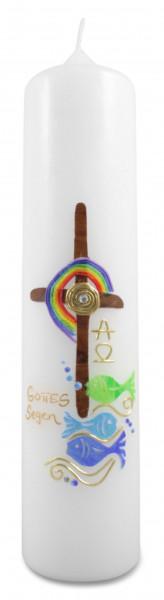 Taufkerze Kreuz, Regenbogen, Fische, Motivkerze