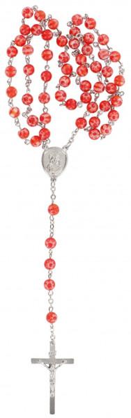 Rosenkranz gekettelt - mit rote Glasperlen
