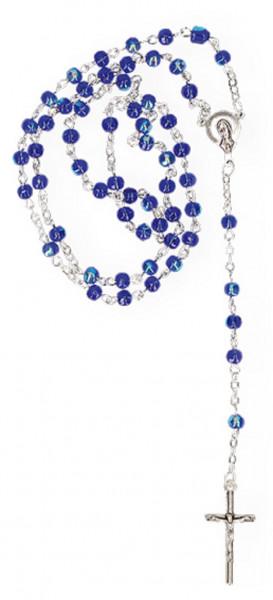 Rosenkranz - dunkelblaue schillernde Glasperlen