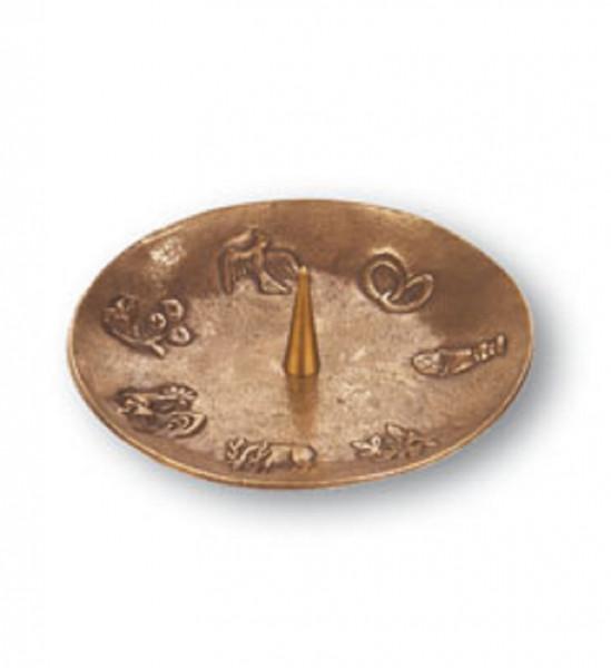 Bronzeleuchter 7 Symbole für Kerzen bis 60mm D