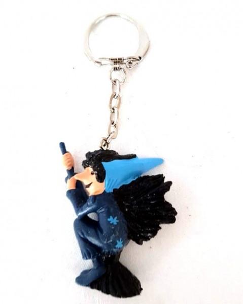 Schlüsselanhänger mit Sammelfigur Hexe aus Plastik