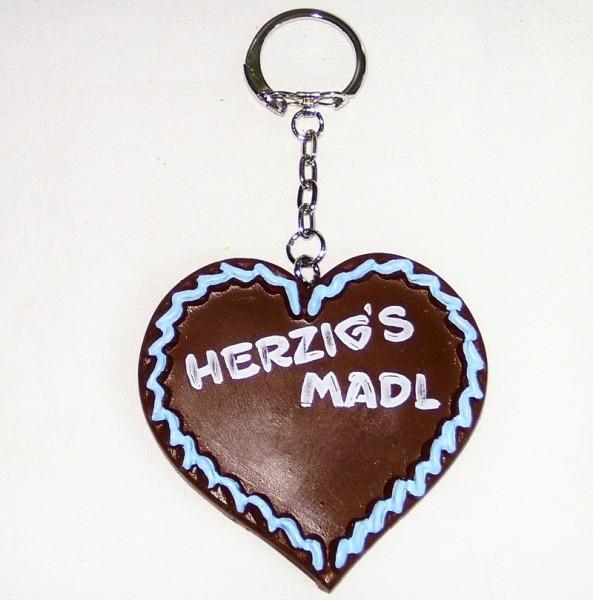 Schlüsselanhänger Herzerl mit hellblauer Verzierung