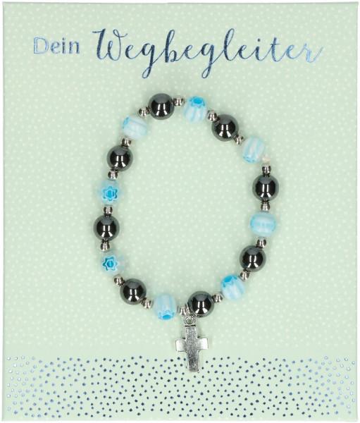 Stretch-Armband mit Hämatitperlen, u. blaue Perlen