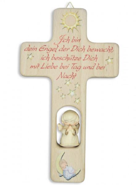 Kinderkreuz Holz m.geschnitztem Engel natur, Ich bin dein