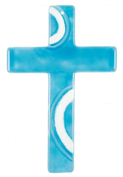 Glaskreuz handgearbeitet hellblau-weiß 20x13x3cm