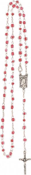 Rosenkranz gekettelt - rote Glasperlen, Metallkreuz