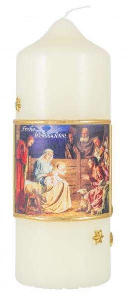 Weihnachtskerze, Kerze mit Hl. Familie mit Hirten