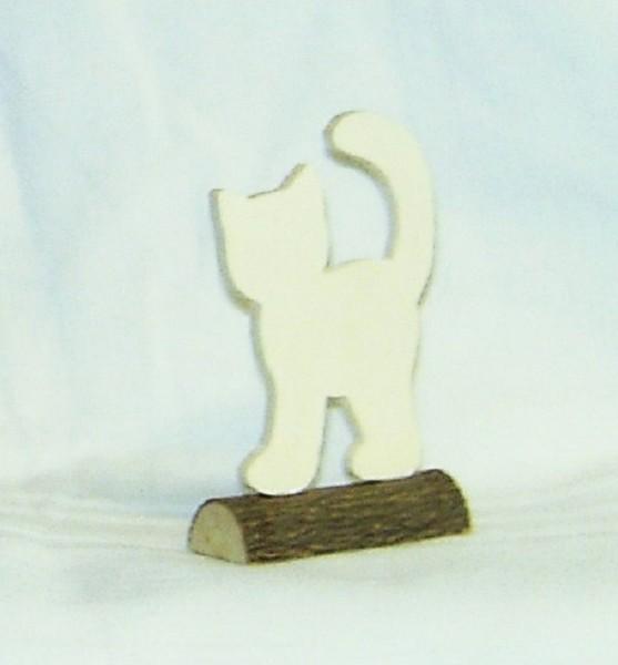 Tischkarte Holz Namensschild Katze Sperrholz auf Naturstamm