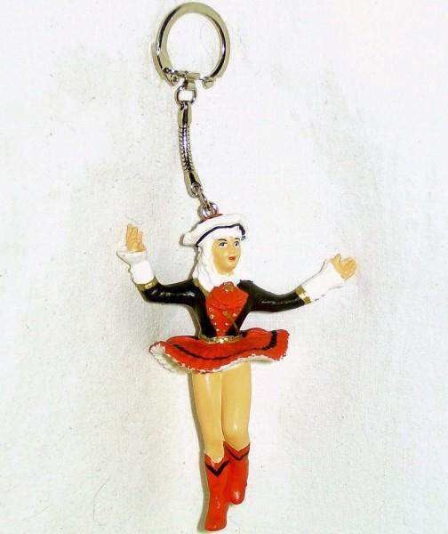 Schlüsselanhänger mit Funkenmariechen Plastik schwarz-rot
