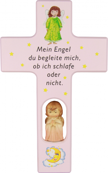 Kinderkreuz Holz mit Holzengel, Motiv Mein Engel rosa