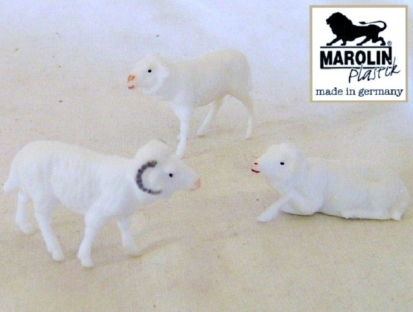 Widder und 2 Schafe, Marolin Plastik Deko Sammelfigur