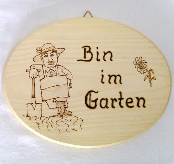 Haustürschild, Deko Holz Schild oval 20x15cm, Bin im Garten