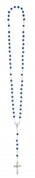 Rosenkranz lang - Wachsperle blau - gekettelt