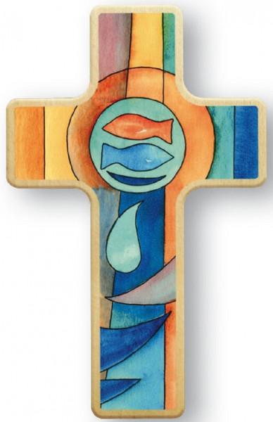 Kinderholzkreuz - Kreuz, Motiv Fische
