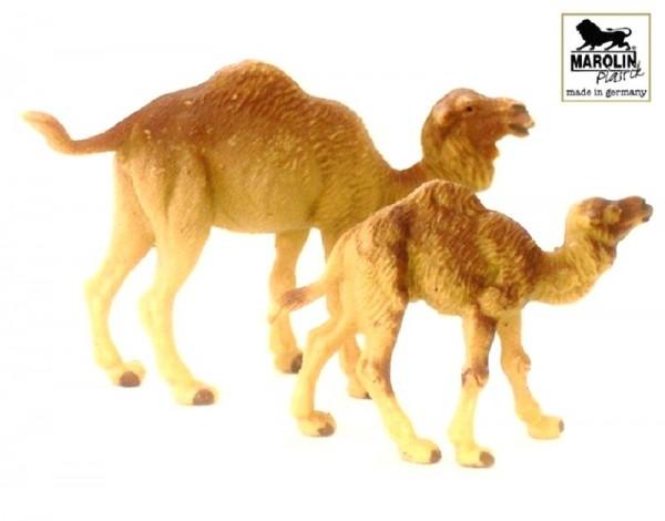 Figur Dromedar mit Jungtier Marolin Plastik Sammelfigur