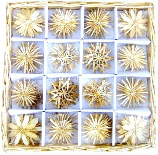 Strohsterne Box mit 56 Stück Sterne 4,5-6cm Baumschmuck