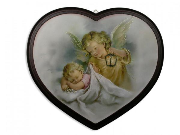 Engel-Herz mit Baby u.Schutzengel Rahmen braun