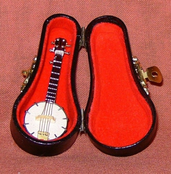 Deko Musikinstrument MIniatur Banjo 7cm, mit Koffer