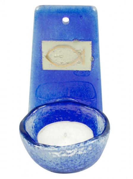 Weihwasserkessel Glas royalblau, Fisch-Blattgold