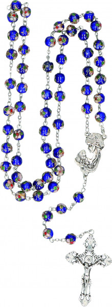 Cloisonné-Rosenkranz - gekettelt, blaue Glasperlen