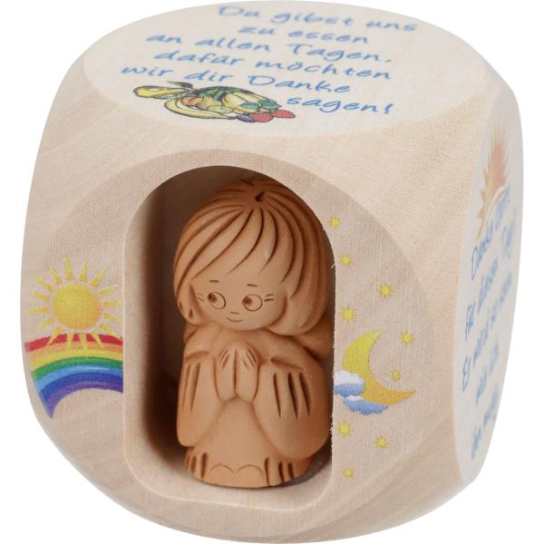 Kinder-Gebetswürfel Holz mit Tonengel, natur