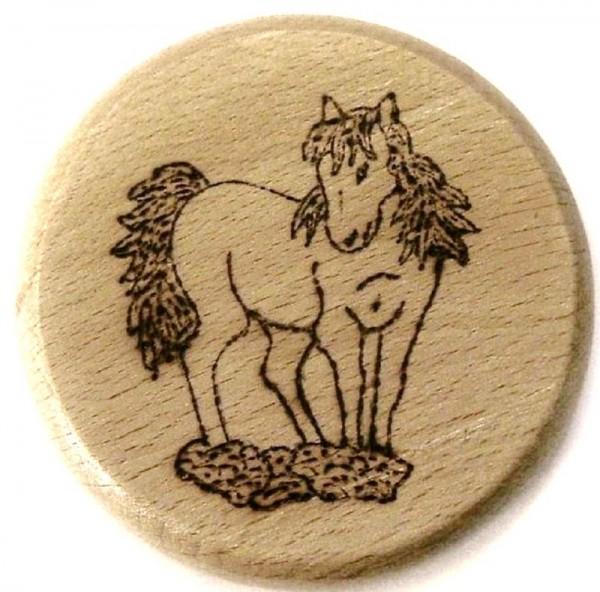 Bierdeckel aus Holz mit Brandmalerei Brandmotiv Pferd