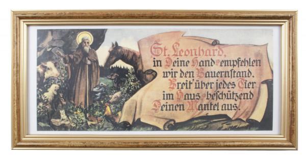 Heiligenbild Hl.Leonhard gerahmt 79/361, 29x15 cm