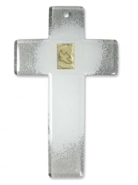 Glaskreuz weiß, Friedenstaube Blattgold 20x12cm