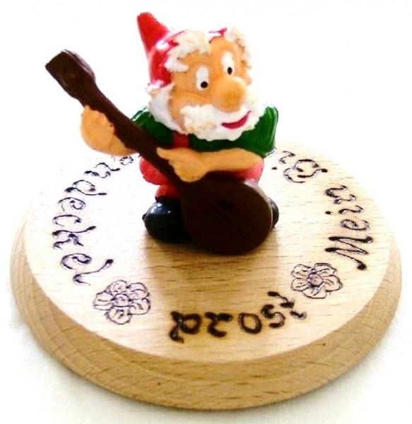 Bierdeckel Holz mit Spruch u. Zwerg, Mandoline Plastik