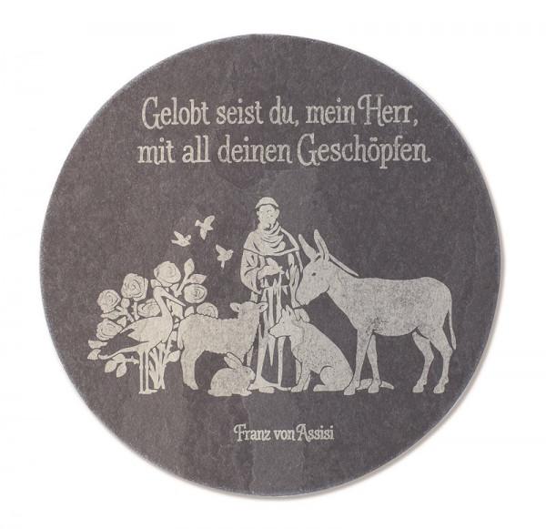 Schieferrelief gelasert - Franz von Assisi