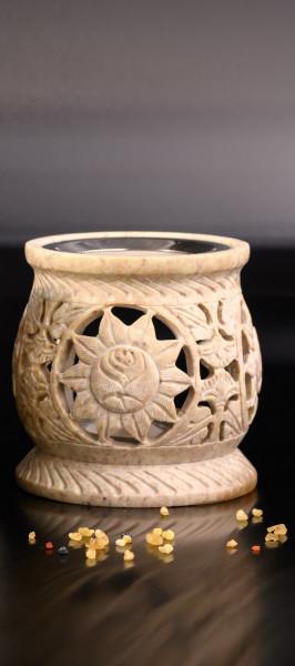 Räucherstövchen aus Speckstein mit Motiv (Farben des Natursteins können variieren)