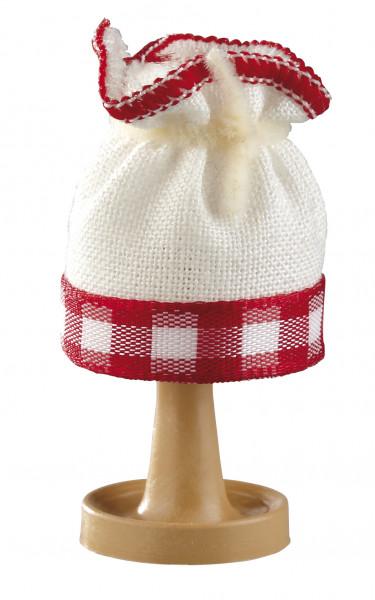 Puppenhaus Mini Tischlampe 3,5V mit Stoffschirm rot-kariert