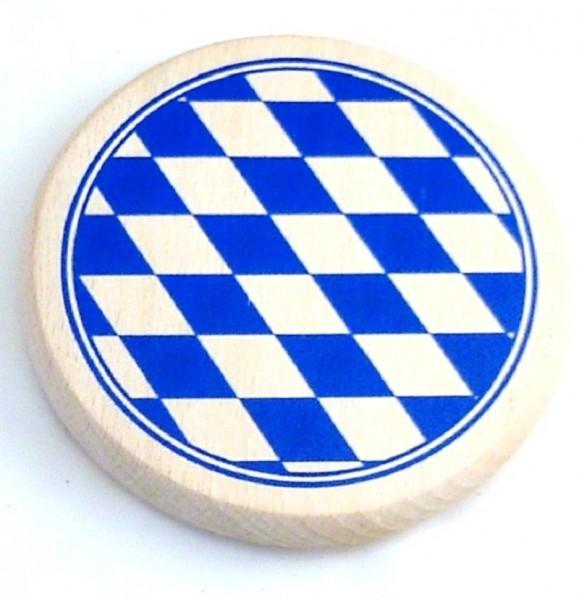 Bierdeckel aus Holz mit Bayernwappen Raute blau-weiss
