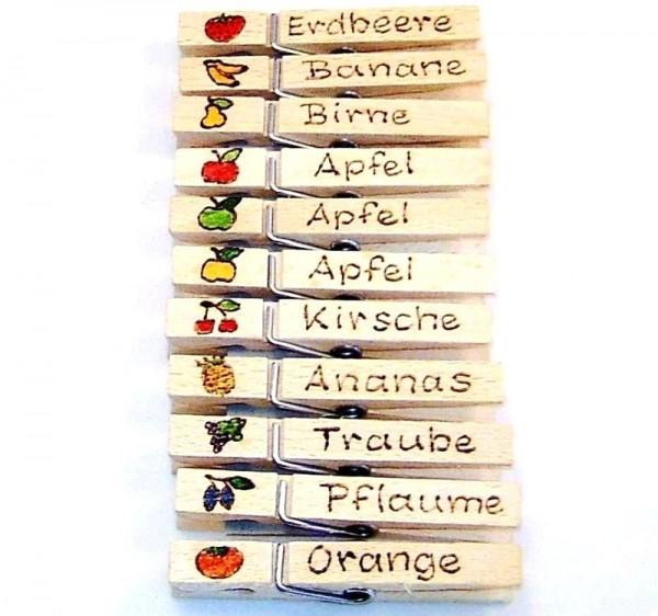Wiesnglupperl Holzklammer mit Motiv Frucht, einseitig